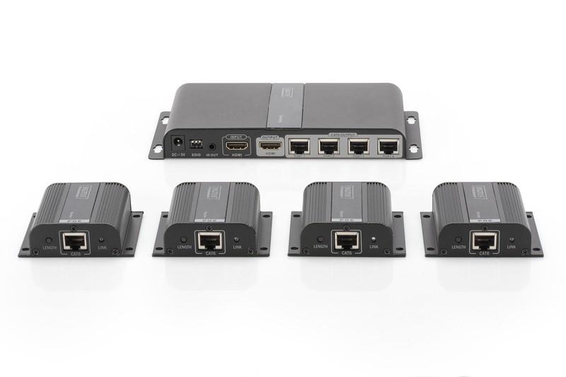 przedluzaczextender-hdmi-4-portowy-do-40m-po-cat-67-1080p-60hz-fhd-hdcp-1-4-ir-audio-zestaw