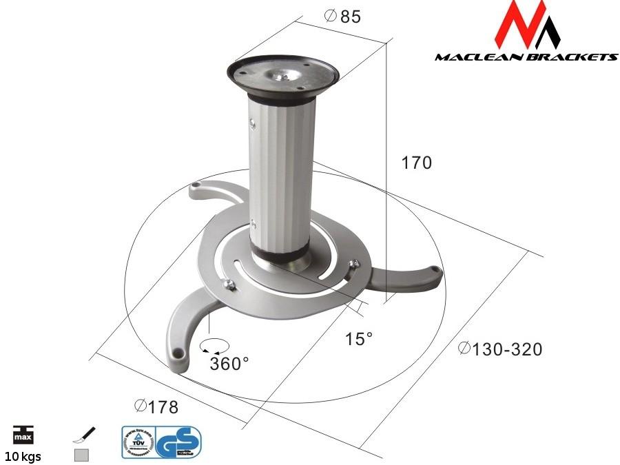 uchwyt-sufitowy-do-projektora-maclean-mc-515-s-80-170mm-10kg
